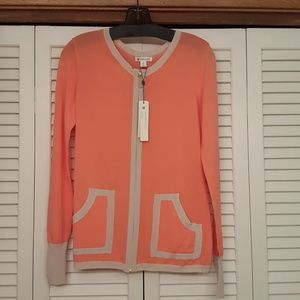 NWT SPANNER CORAL & TAUPE FRONT ZIPPER CARDIGAN